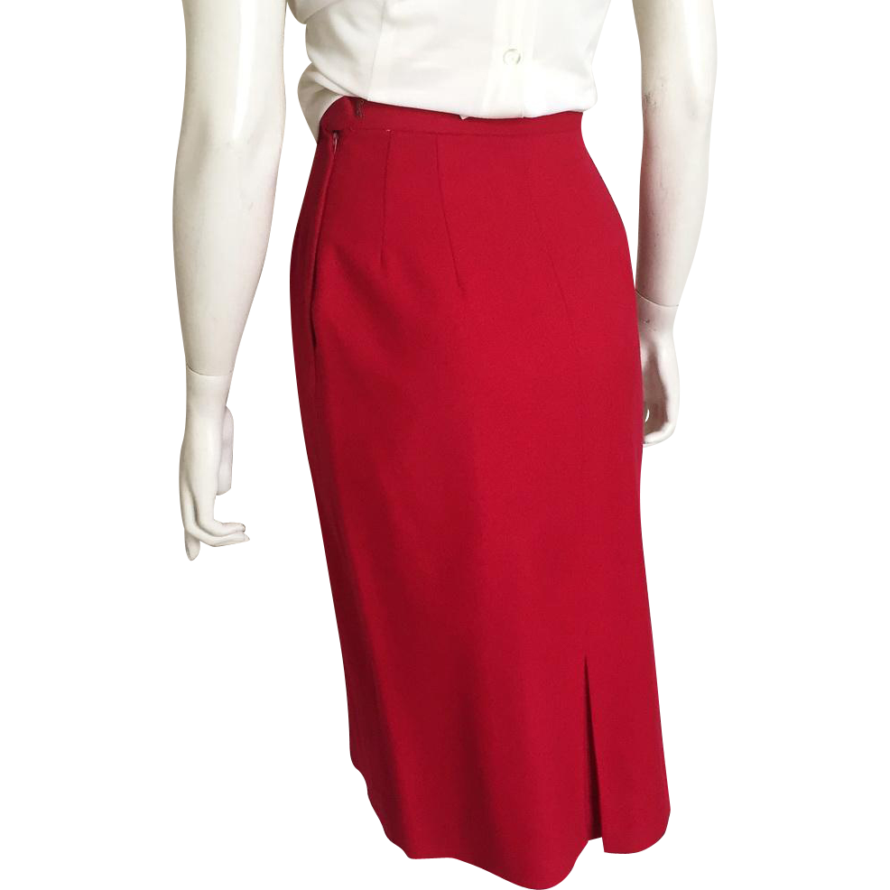 Vintage 1960s Red Garland Downyspun Winter Wool Straight Skirt XS
