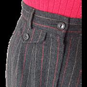 Vintage 1970s Pinstripe Winter Woolen Office Collegiate Skirt