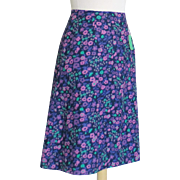 Vintage 1960s Purple Plum Orchid Green Flower Print A Line Skirt NOS M