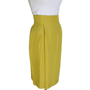 Vintage Late 80s Tahari Silk Chartreuse Fitted Straight Skirt Toreador Waist M