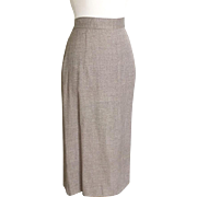 Vintage 1940s Warm Gray Taupe Suiting Woolen Skirt M