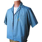 Fabulous Vintage Shirt Jac with Cool Congo Player Embroidery VLV L XL