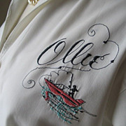 Vintage 1950s 1960s Novelty Embroidery Blouse Fishing Theme Named Ollie M