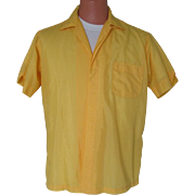 Vintage 1960s Summer Golden Yellow Menswear Shirt with White Top Stitching L
