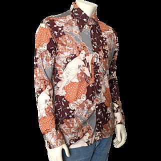 Vintage 1970s Disco Era Shirt by David Harrison M L Mucha Autumn Print Brown Cream Gray Rust