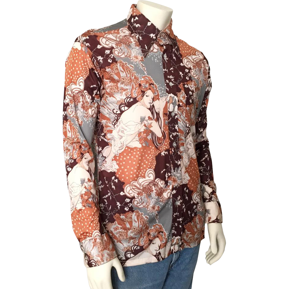 Vintage 1970s Disco Era Shirt by David Harrison M L Mucha Autumn Print Brown Cream Gray Rust