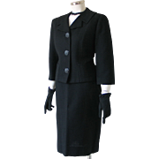 Vintage 1960s Black Boxy Cropped Jacket Suit Glenhaven Ward's M