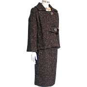 Vintage 1960s Boxy Cut Brown Tweed Ladies Suit with Pencil Slim Skirt