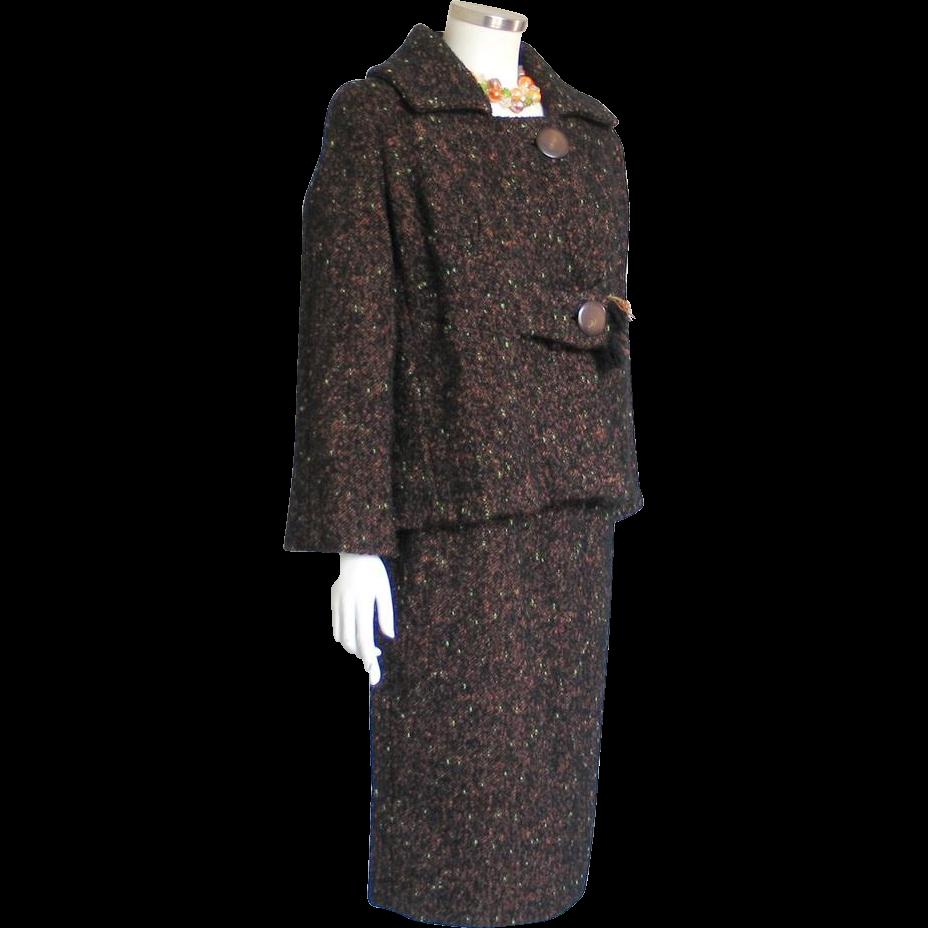 Vintage 1960s Boxy Cut Brown Tweed Ladies Suit with Pencil Slim Skirt
