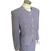 Vintage 1980s Periwinkle Purple and Cream Houndstooth Plaid Skirt Suit by Evan Picone M