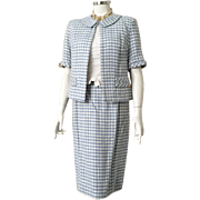 Vintage 1960s Spring Summer Skirt Suit Light Blue Gray and White Woven Plaid M