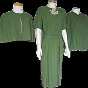 Vintage 1950s Moss Green 3 pc Dress Ensemble Set Suit w matching Jacket Capelet and Belt M L
