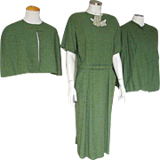 Vintage 1950s Moss Green 3 pc Dress Ensemble Set Suit w matching Jacket Capelet and Belt M L