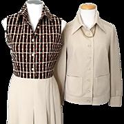 Vintage 1970s Brown Tan Butte Textured Knit Dress Ensemble Jacket M