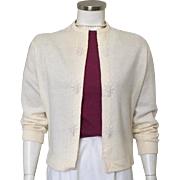 Vintage 1950s 1960s Creamy White Beaded Sweater Hong Kong M L