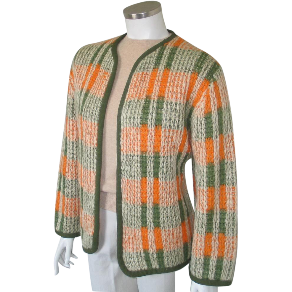 Vintage 1960s Italian Orange and Olive Green Mohair Cardigan Sweater Oversize L