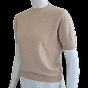 Classic Vintage 1950s Pringle Champagne Cashmere Pullover Jewel Neck Sweater S M