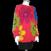 Vintage 1980s Bright Bold Color Block HUGE Flower Sweater  L XL
