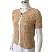 Vintage Late 1970s R & K Crocheted Gold Sweater with Sparkly Metallic Gold Disco Jacket S M