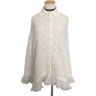 Vintage 1960s White Open Knit Button Front Sweater Cape with Collar M L