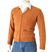 Vintage 1960s Orange Heathered Towncraft V Neck Cardigan Sweater Menswear S