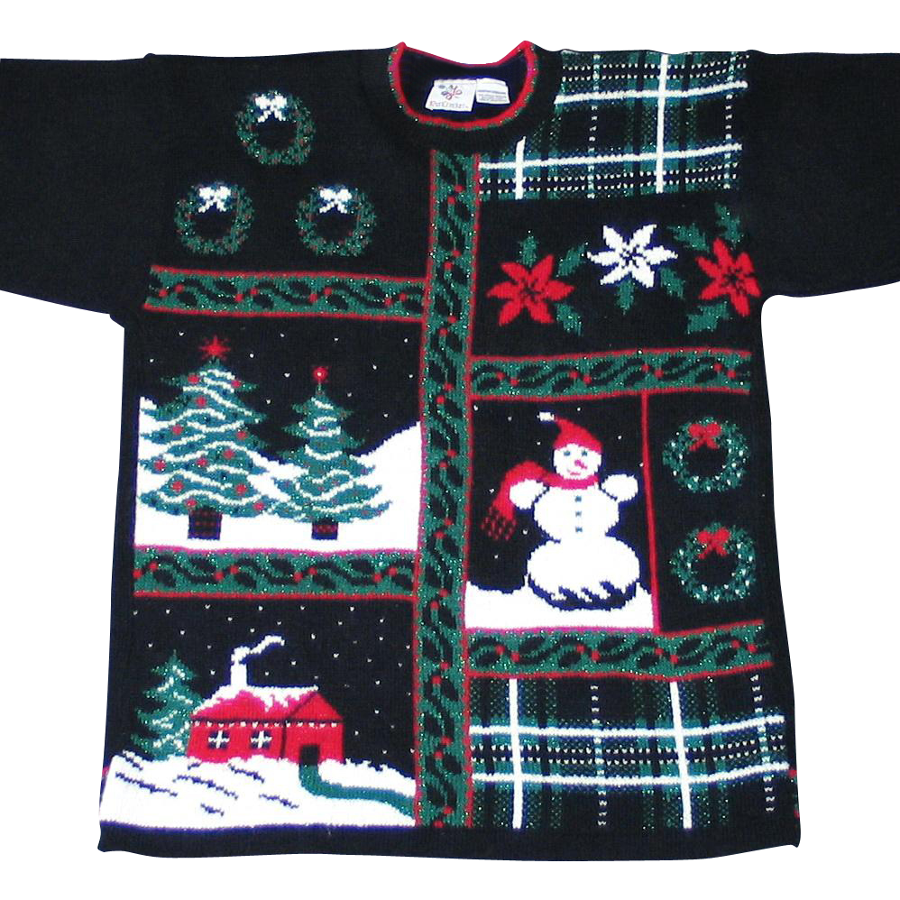 Vintage 1980s Black Christmas Pullover Sweater Metallic Shiny Lurex Red Green White M L