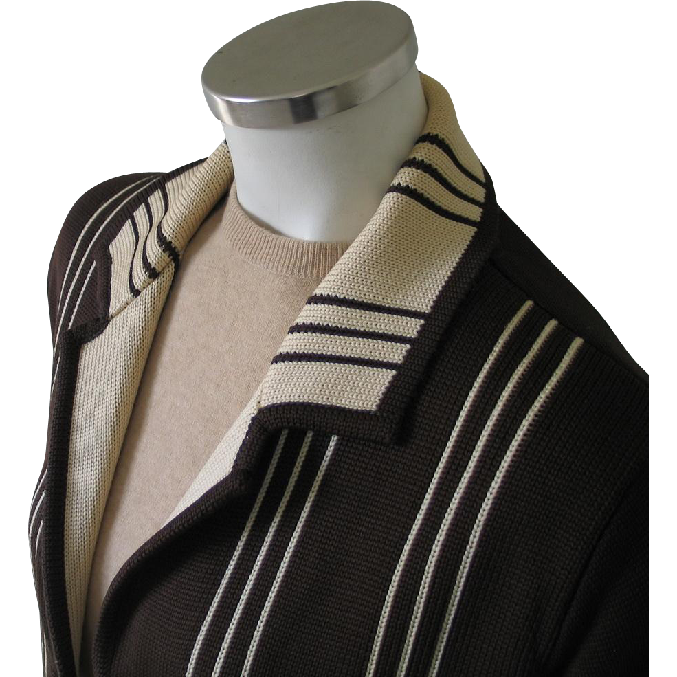 Vintage 1960s Brown Geometric Woven Design Long Cardigan Sweater M L