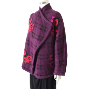 Vintage 1980s Escada Mohair Cocoon Wrap Sweater Jacket Plum Red Black Floral Plaid