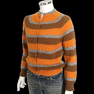 Vintage 1960s Bernhard Altmann 100% Pure Virgin Wool Shetland Cardigan Sweater Scotland M
