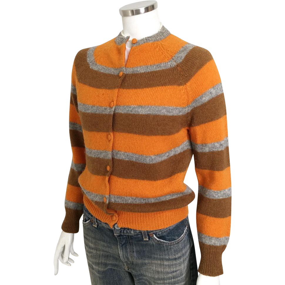 Vintage 1960s Bernhard Altmann 100% Pure Virgin Wool Shetland Cardigan Sweater Scotland M