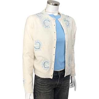Vintage 1960s Creamy White Sweater with Blue Embroidery and Sparkling All Over Beading M