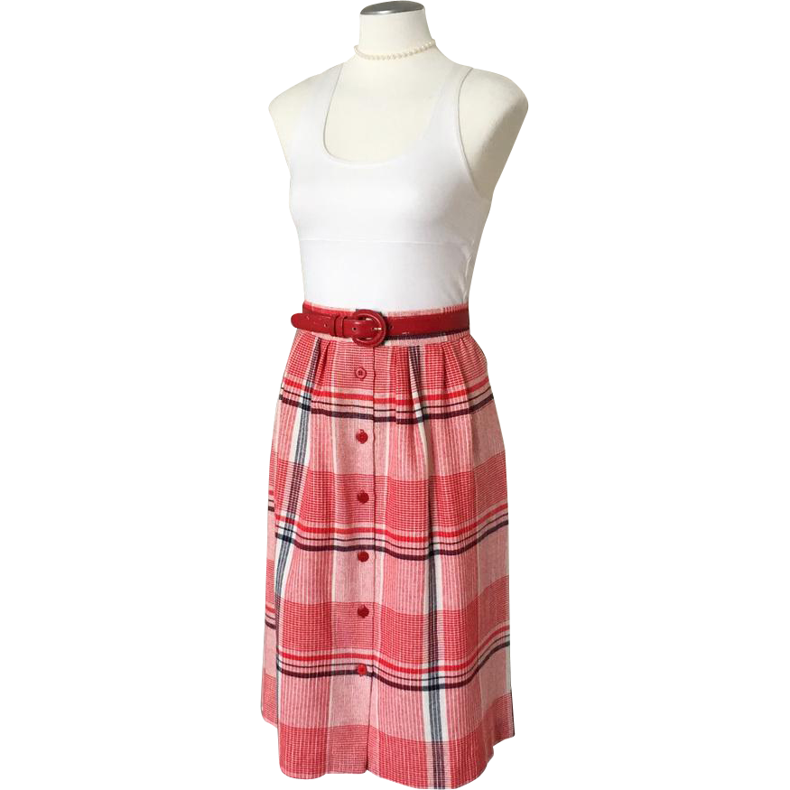 Vintage 1970s Red White and Navy Blue Woven Plaid Dirndl Skirt W 30 M