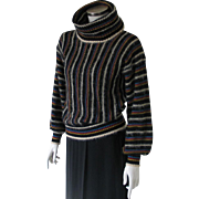 Vintage 1970s Luxurious Mohair Cowl Sweater Black Multi Colored Stripes M
