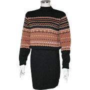 Vintage 1950s Cocoa Black Cream Nordic Mock Turtleneck Pullover Sweater M