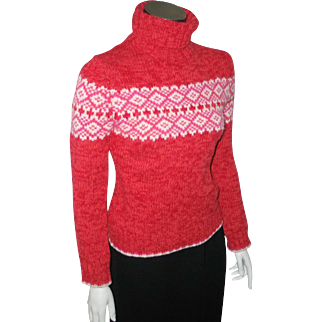 Vintage Early 90s Red Pink White Nordic Print Ski Sweater S XS