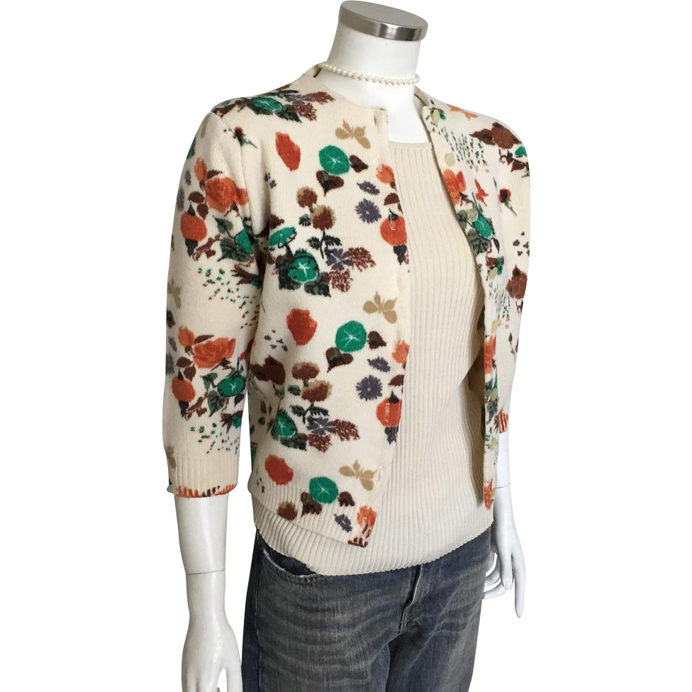 Vintage 1960s Cream Orange Brown Teal Autumn Leaves Sweater M