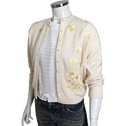Vintage 1950s Cream Cardigan Sweater with Yellow Embroidered Flowers Helen Harper M