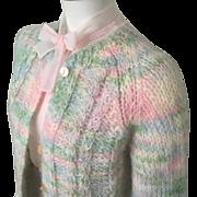 Vintage 1960s Italian Mohair Cardigan Sweater Pastels Blue Pink Aqua Mint Cream M L