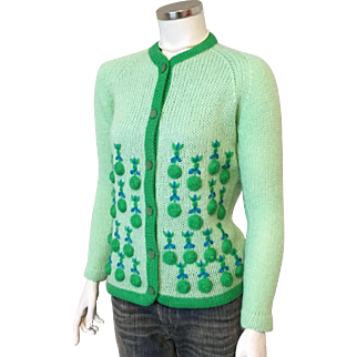 Vintage 1960s Two Tone Green with Ocean Blue Novelty Weave Raglan Sweater Evan Picone M