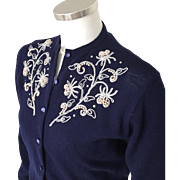 Vintage 1950s Dark Navy Blue Garland Silver Beaded Corded Sweater Girl Sweater M
