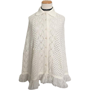 Vintage 1960s White Collared Wavy Lacy Knit Sweater Cape M
