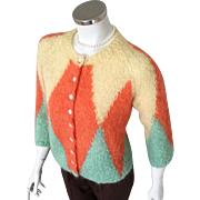 Vintage 1960s Harlequin Mohair Cardigan Sweater Orange Yellow Seafoam Green  M