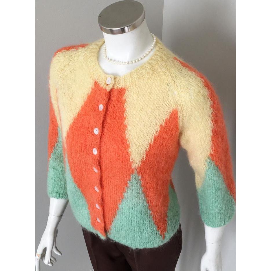 Vintage 1960s Harlequin Mohair Cardigan Sweater Orange Yellow Seafoam Green  M