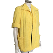 Vintage 1940s  Canary Yellow Catalina Terry Cloth Beach Pool Swimsuit Coverup L XL Volup