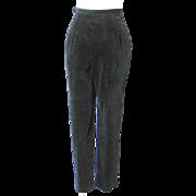 Vintage 1960s Black Velveteen Formal Event Trousers Cigarette Pants Slacks High Waist XS S