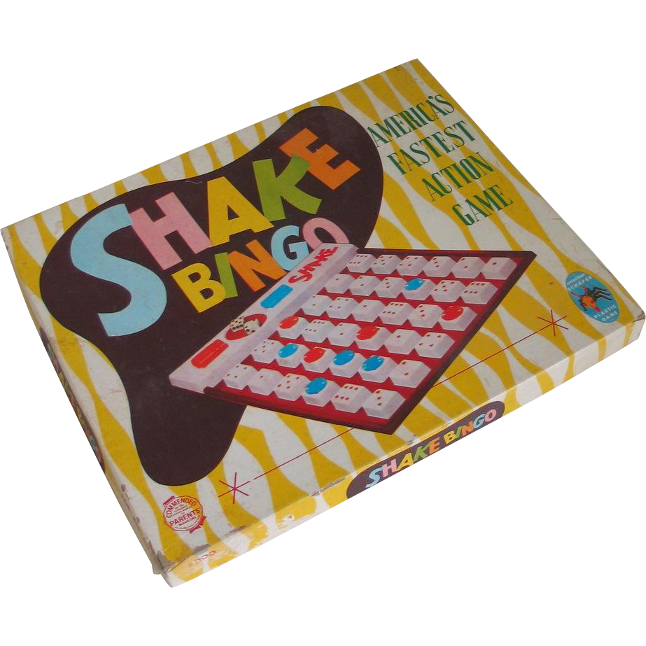 Vintage 1950s Board Game Shake Bingo with Translucent Green Dice
