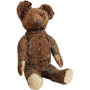 Vintage 1920s 1930s Light Brown Mohair Stuffed Animal Toy Teddy Bear 12""