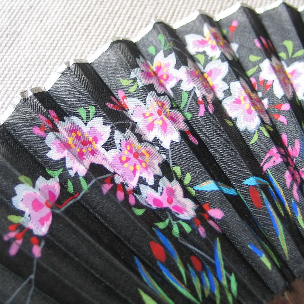 Vintage Folding Fan Black Hand Painted Silk on Wood Silver Foil Edging