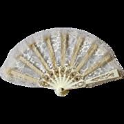 Vintage Cream Lace Hand Fan Handfan