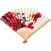 Vintage Bamboo Hand Fan with Exotic Print of Red Plumeria Flowers and a Pair of Birds